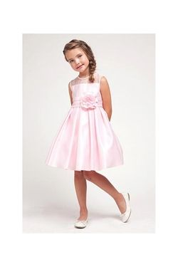 Simple and Classic Pink Flower Girl Dress -