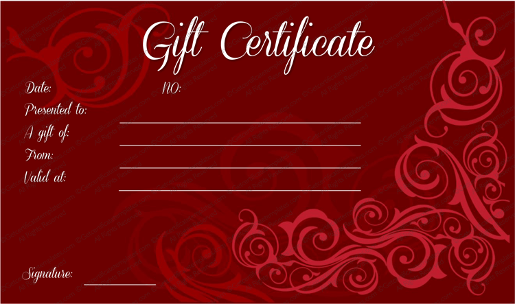 Delicate Swirls Gift Certificate Template SLdfz  Graphics