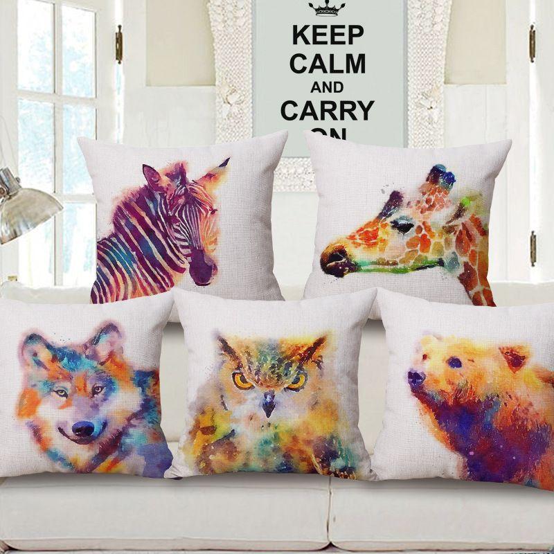 Europe Hot Cartoon Watercolor Animal Cotton Linens Home Decorative Pillowcase Throw Pillow Cover Decorative Throw Pillows Decorative Pillow Cases Throw Pillows