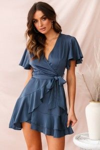 Photo of Cami Angel Sleeve Faux Wrap Dress Blue