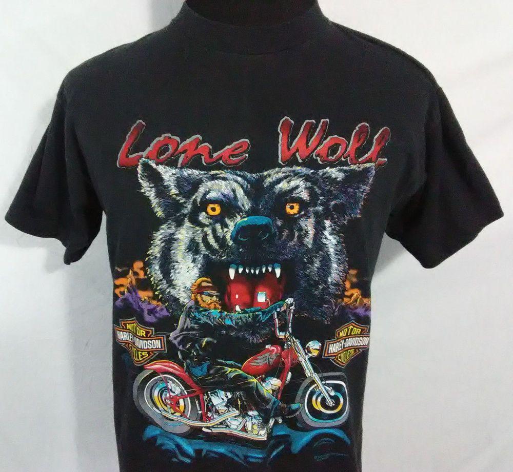 Harley davidson lone wolf mens large t shirt motor cycles