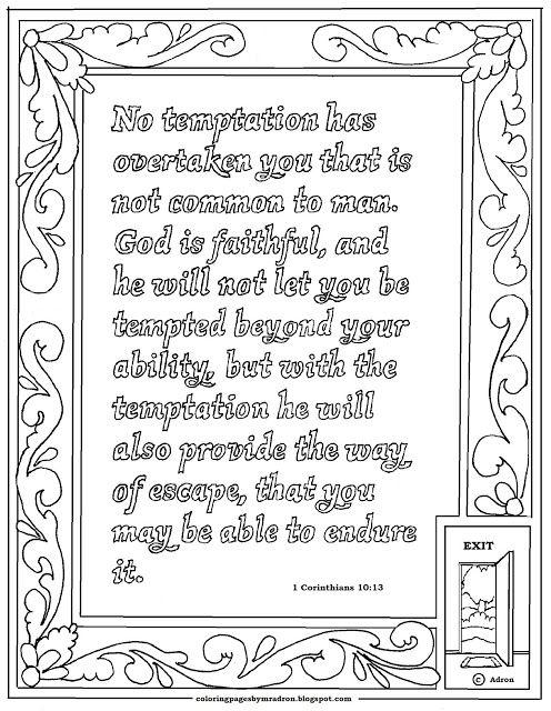 1 Corinthians 10 13 Print And Color Page 1 Corinthians Coloring