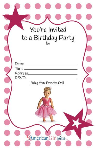 American Girl Birthday Party Invitations Free Printables American