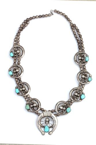 Navajo Style Sterling Silver Turquoise Spider Naja Squash Blossom Necklace | eBay
