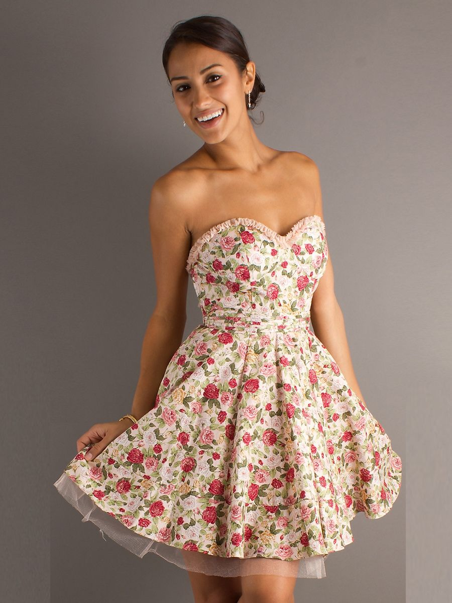 5a5fa87499f Traditional Floral Print A-line Style and Strapless Sweetheart Neckline  Party Dresses