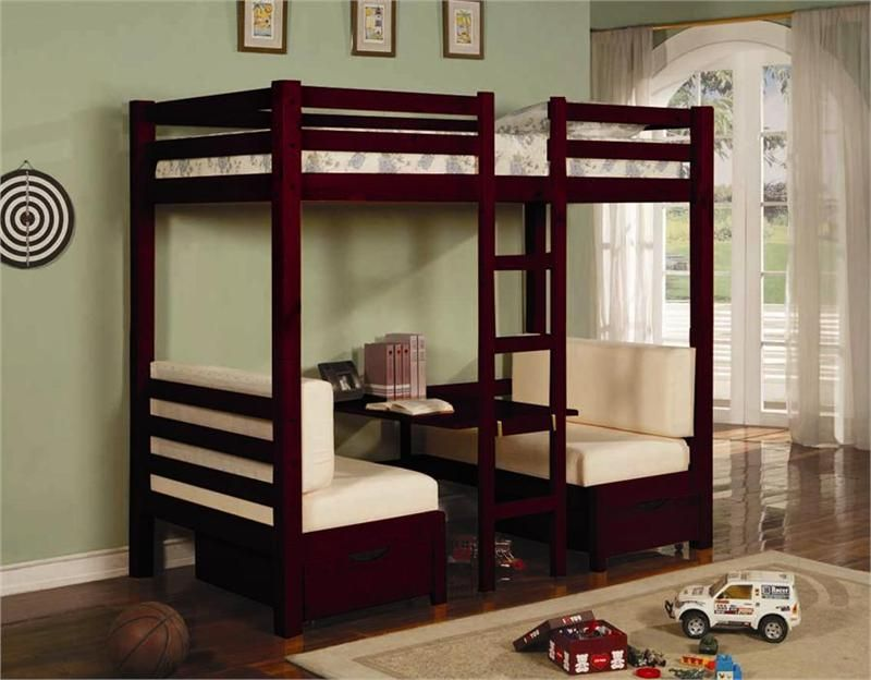 Bunk Bed With Table Underneath Good Design With Twin Over Table Convertible  Bunk Bed In Cherry