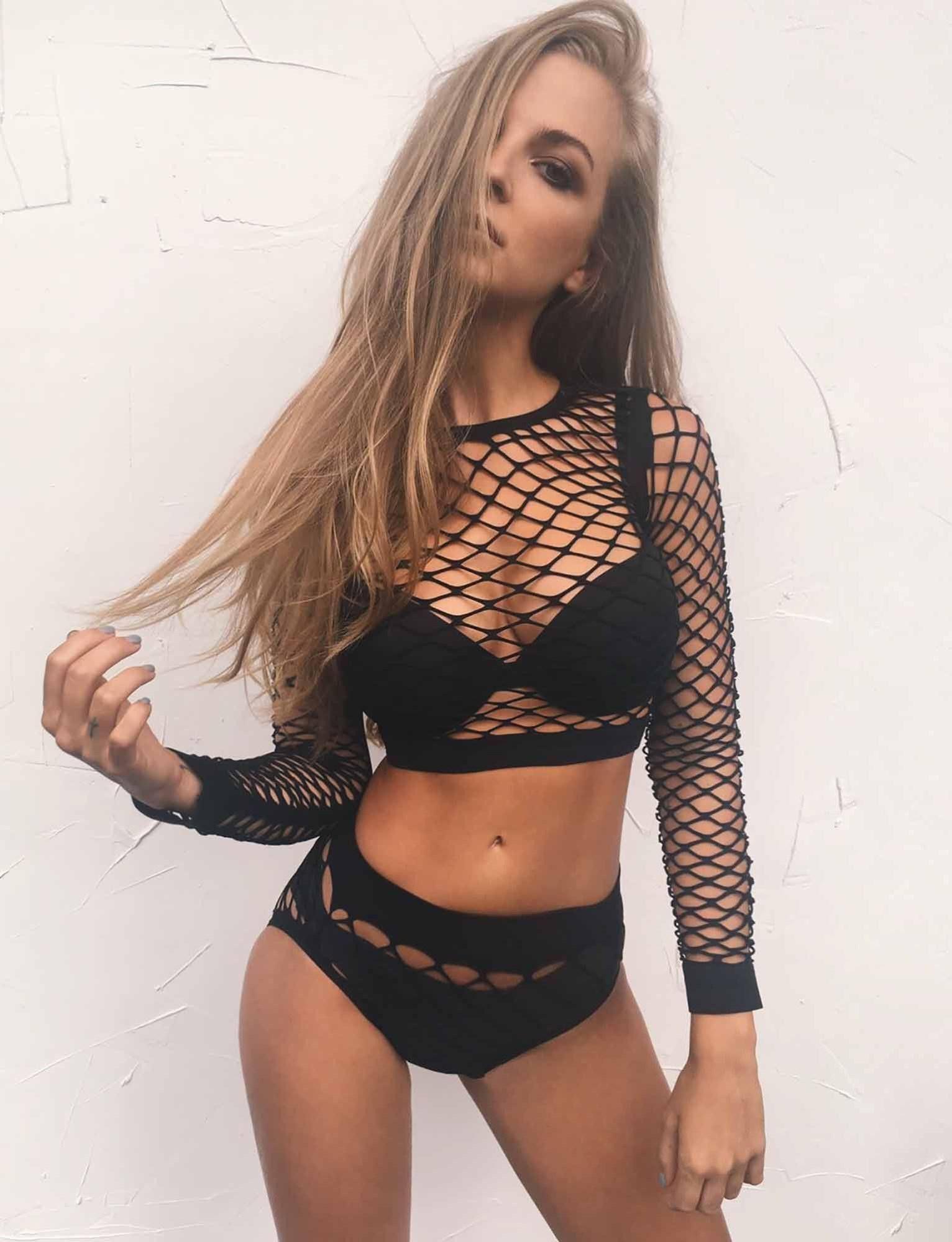 622563ab68 Two Piece Set Women Sexy Lingerie Black Mesh Long Sleeve Crop Top Underwear  Summer Party Beach Clothing Short Sets LF099-519
