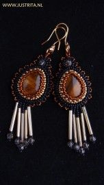 Goldfilled beadembroidery earrings