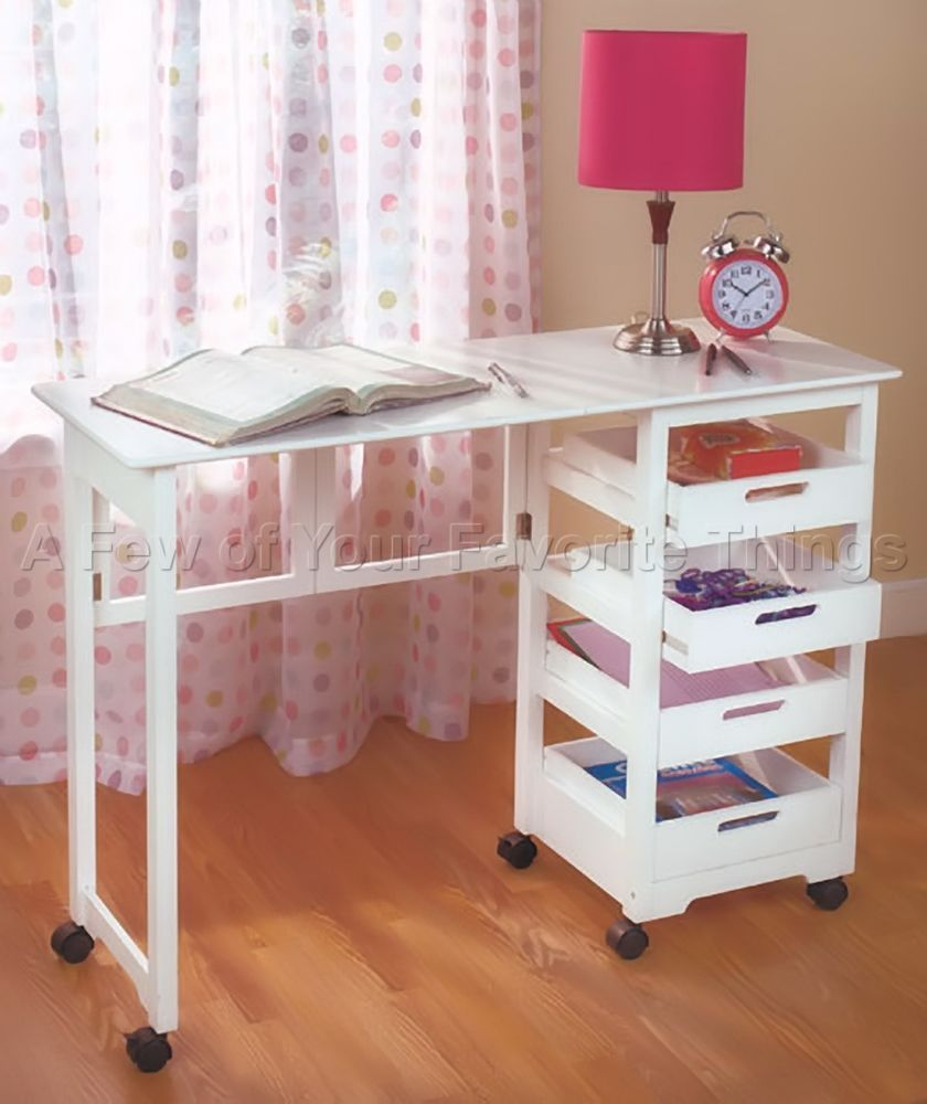 Space Saver Craft Table W Wheels   Folds Away In White