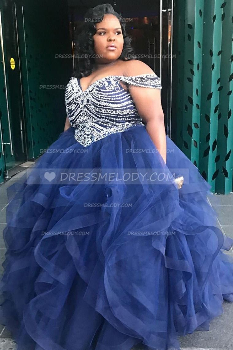Beading Off Shoulder Plus Size Floor-Length Ball Gown ...
