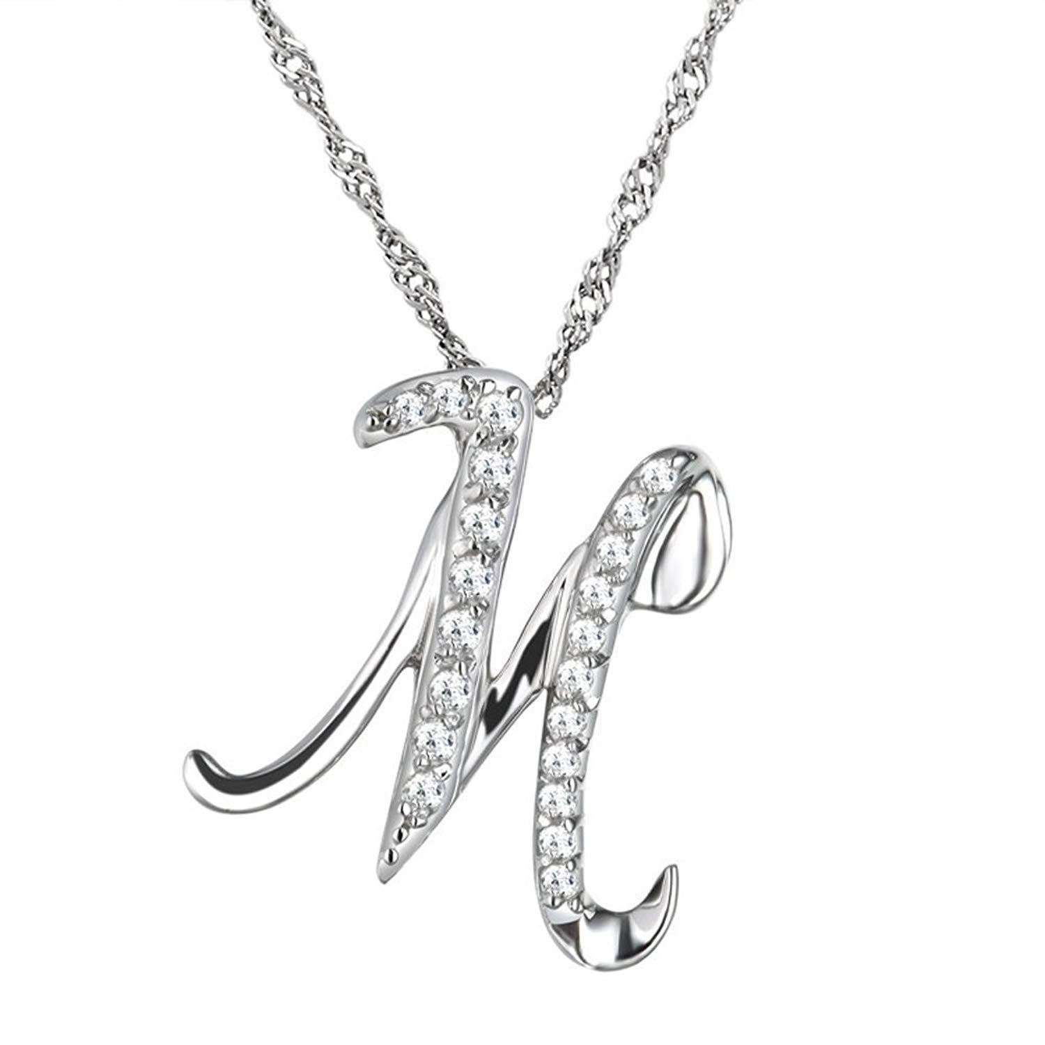 Sobly Jewelry Womens Fashion Name Initial Letter Cubic Zirconia Pendant Necklace 18 Inch Chai Black Beaded Jewelry Girly Jewelry Sterling Silver Cross Pendant