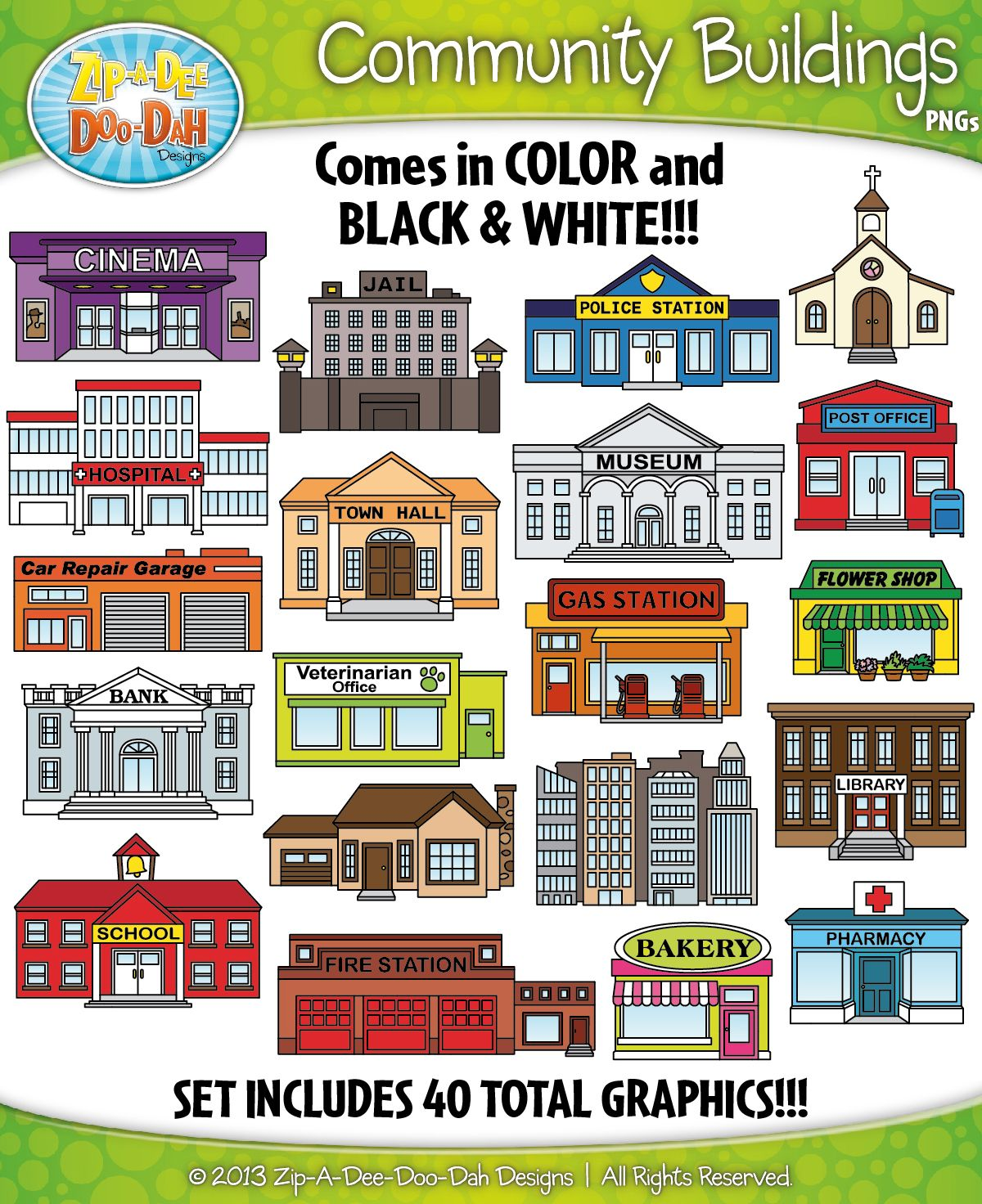 Community Buildings Clipart {Zip-A-Dee-Doo-Dah Designs ...
