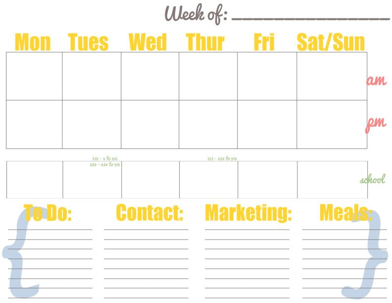 Free Weekly Calendar - Pdf And Psd Free To Download/Customize