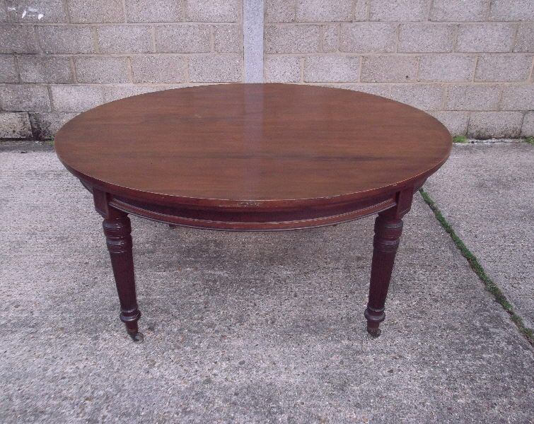 Large Antique Round Table - Late Victorian 5ft Diameter ...