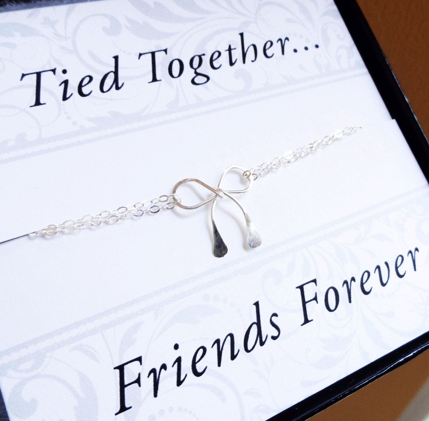 Friendship bracelet with friendship card best friend gifts silver friendship bracelet with friendship card best friend gifts silver bow bracelet friends forever kristyandbryce Image collections