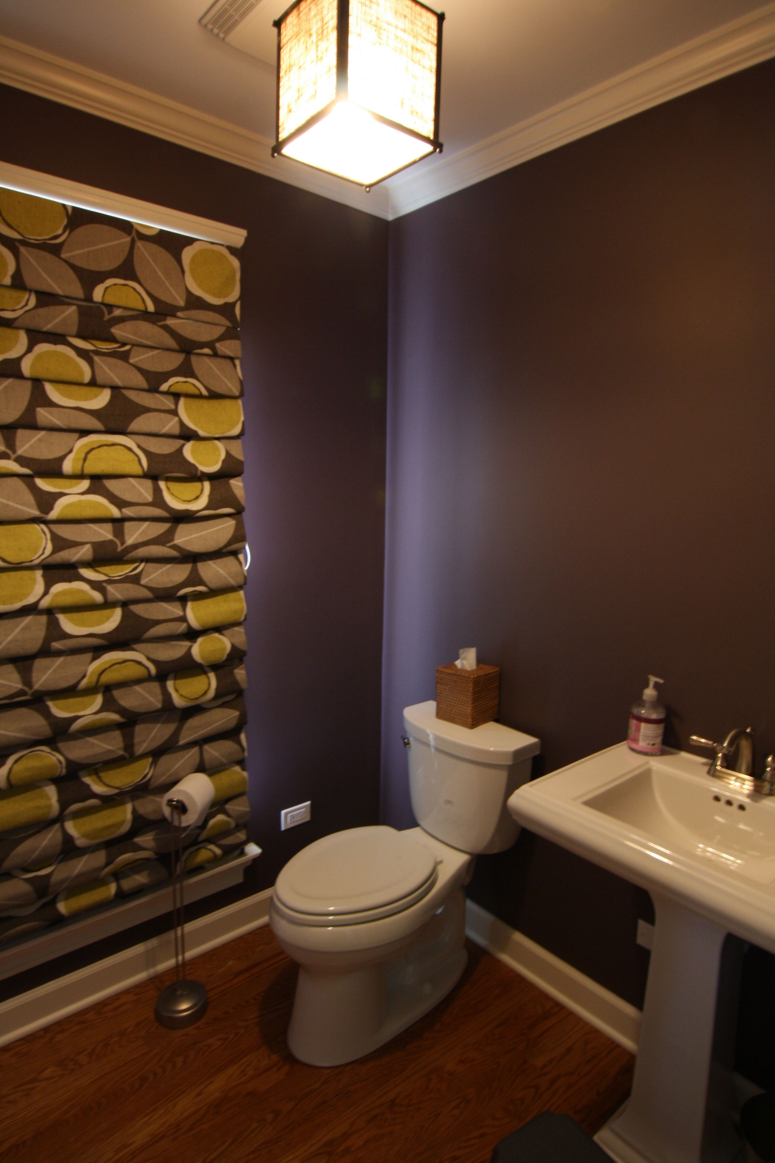 Benjamin Moore Cabernet ofc fireplace Not bad in a powder room with good