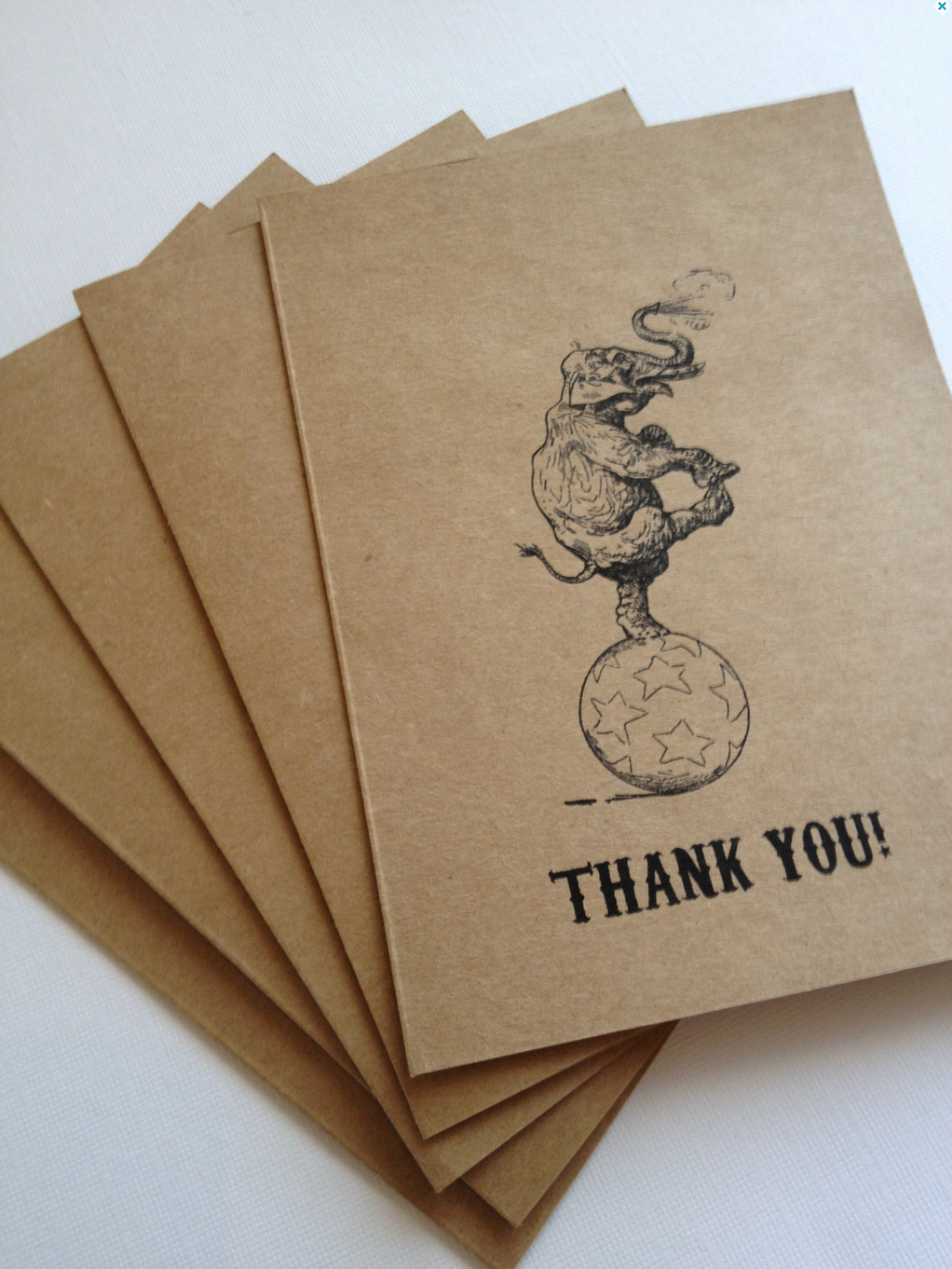 Circus Thank You Cards- Vintage Circus Inspired- Wedding, Birthday Party, Baby Shower (10) available viaEtsy