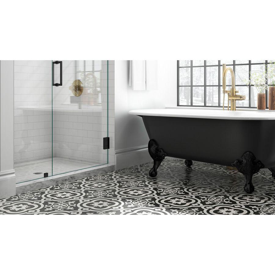 Della Torre Cementina Black And White 8 In X 8 In Glazed Ceramic Encaustic Tile Lowes Com Ceramic Floor Ceramic Tile Samples Ceramic Floor Tile