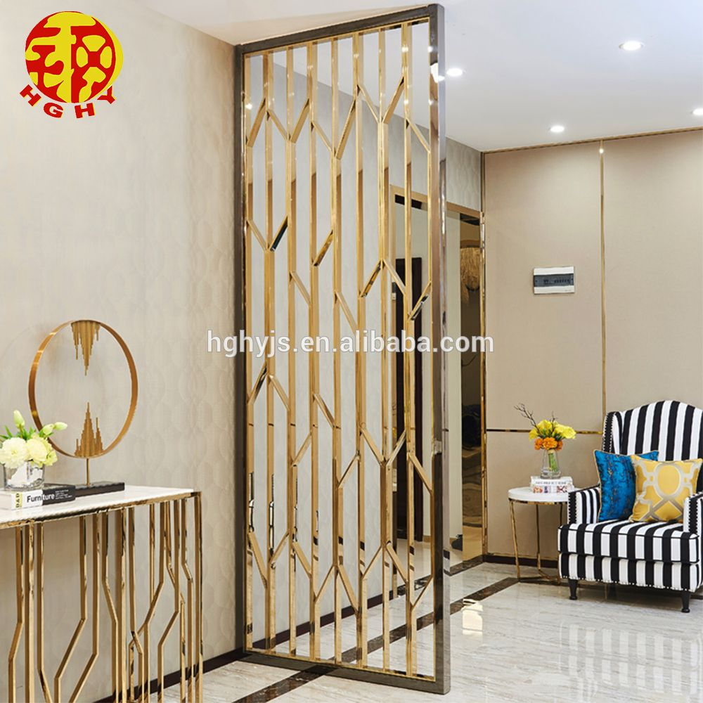 Room Partition Wall: Stainless Steel Rose Gold Wall Art Hanging Screens