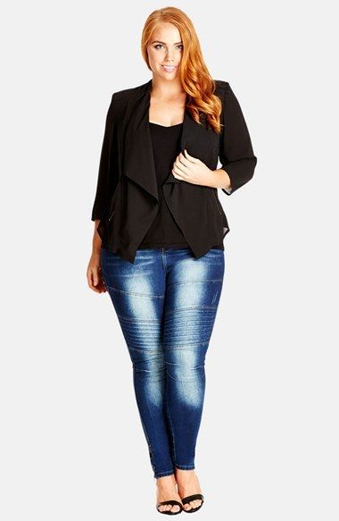 A must have in every curvy girl's closet.  Hello! Plus Size Jacket Blazer and skinny jeans.