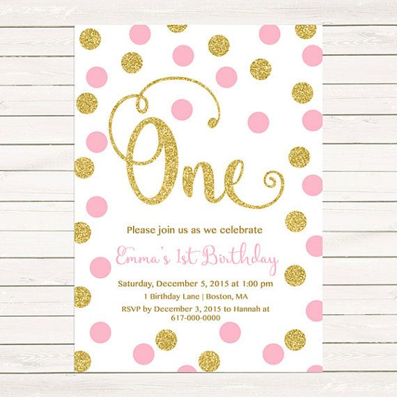 Pink And Gold St Birthday Invitation Girl Any Age Pink Gold Dots - Digital first birthday invitation