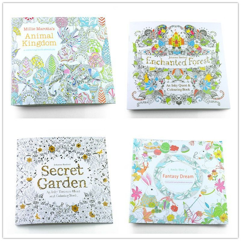 4 PCS 24 Pages Mixed Style Relieve Stress For Kids Adult Fantasy Dream Painting Drawing Secret Garden Kill Time Coloring Book