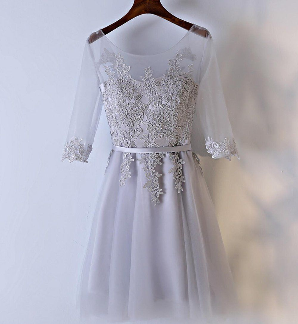 Long sleeve lace gray homecoming prom dresses affordable corset