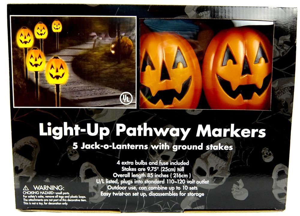 Jack O Lantern Light Up Pathway Markers With Stakes Outdoor Halloween Decorating Halloween Outdoor Decorations Light Up Jack O Lantern