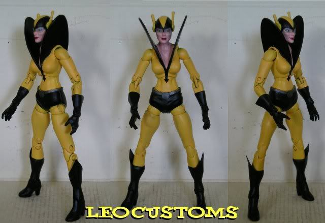 this is a marvel legends custom rita demara yellow jacket made by leo customs he used a wasp figure with yellow jacket wings happy pinning