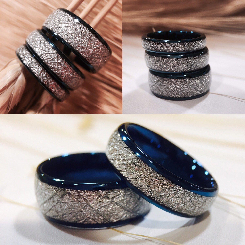 Matching Wedding Bands Meteorite Inlay Rings Blue Tungsten Wedding Bands Blue Mens Wedding Bands Tungsten Blue Tungsten Wedding Bands Womens Tungsten Rings