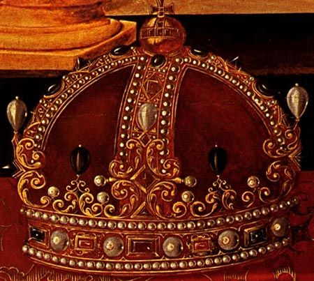 Close-up of the crown from the Armada Portrait (Queen ... Queen Elizabeth 1 Crown
