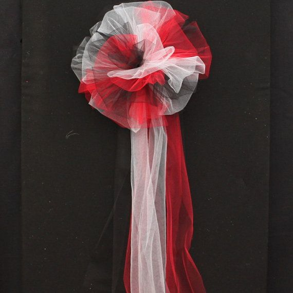 Stairway Decorated With White Tulle And Red Silk Roses: Red Black White Tulle Wedding Pew Bow Church Pew By