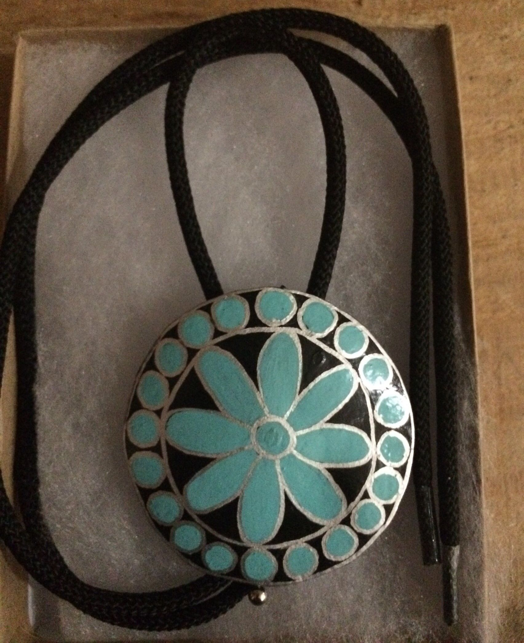 Hand painted Turquoise and silver gourd wood bolo tie ~unisex ~