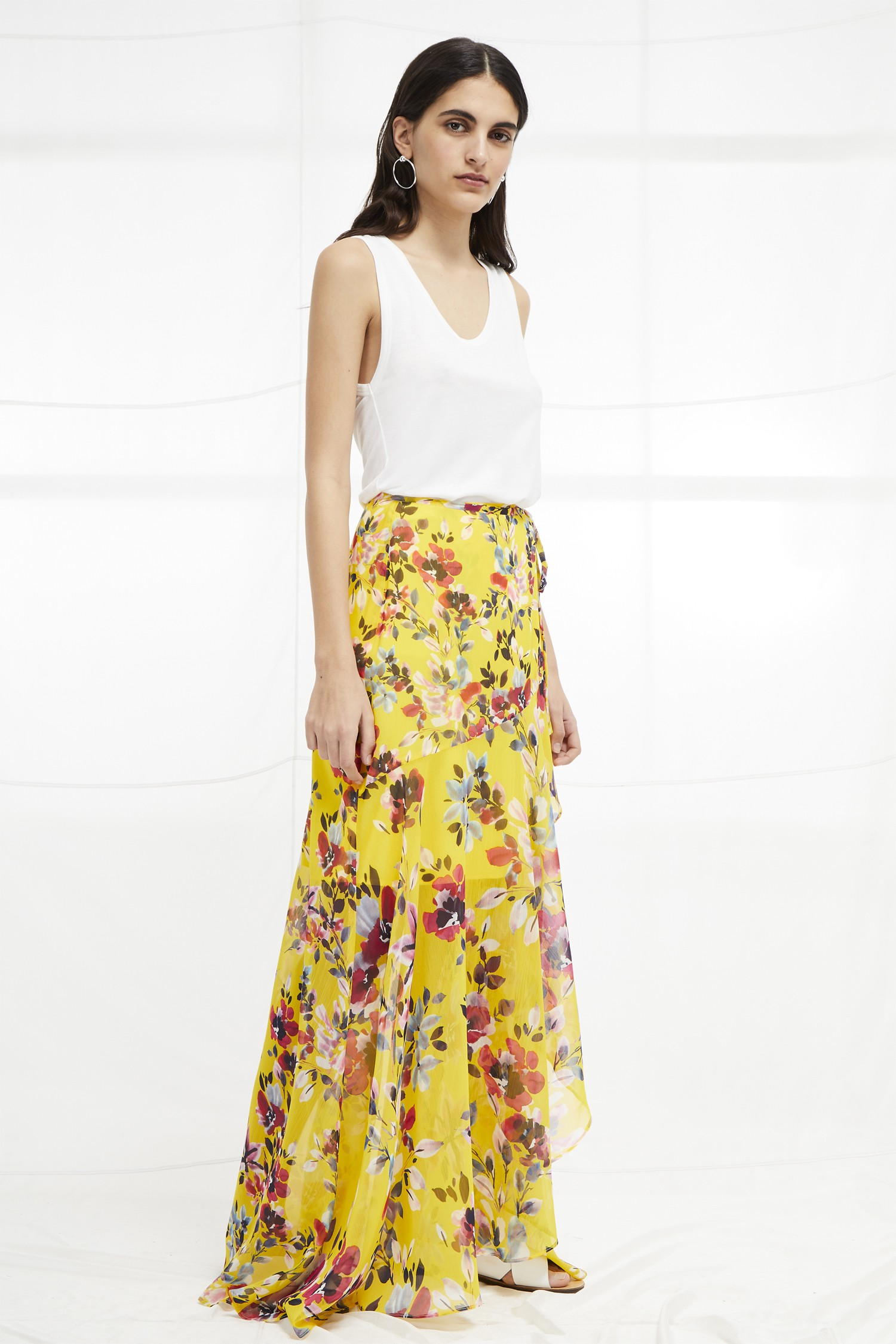 39bc7cd815f French Connection Linosa Crinkle Wrapover Maxi Skirt - 2 Yellow ...