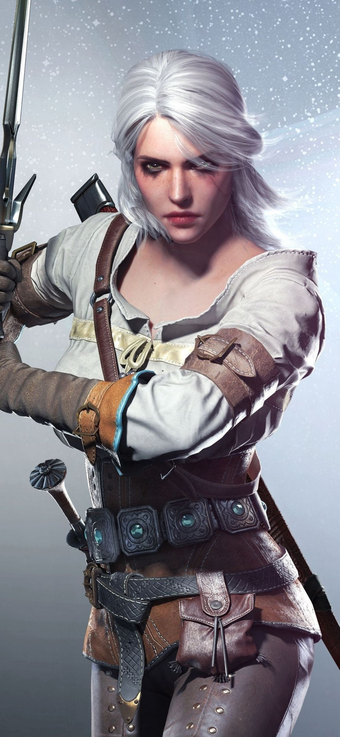 Ciri, The Witcher, video game, artwork, 1125x2436 wallpaper
