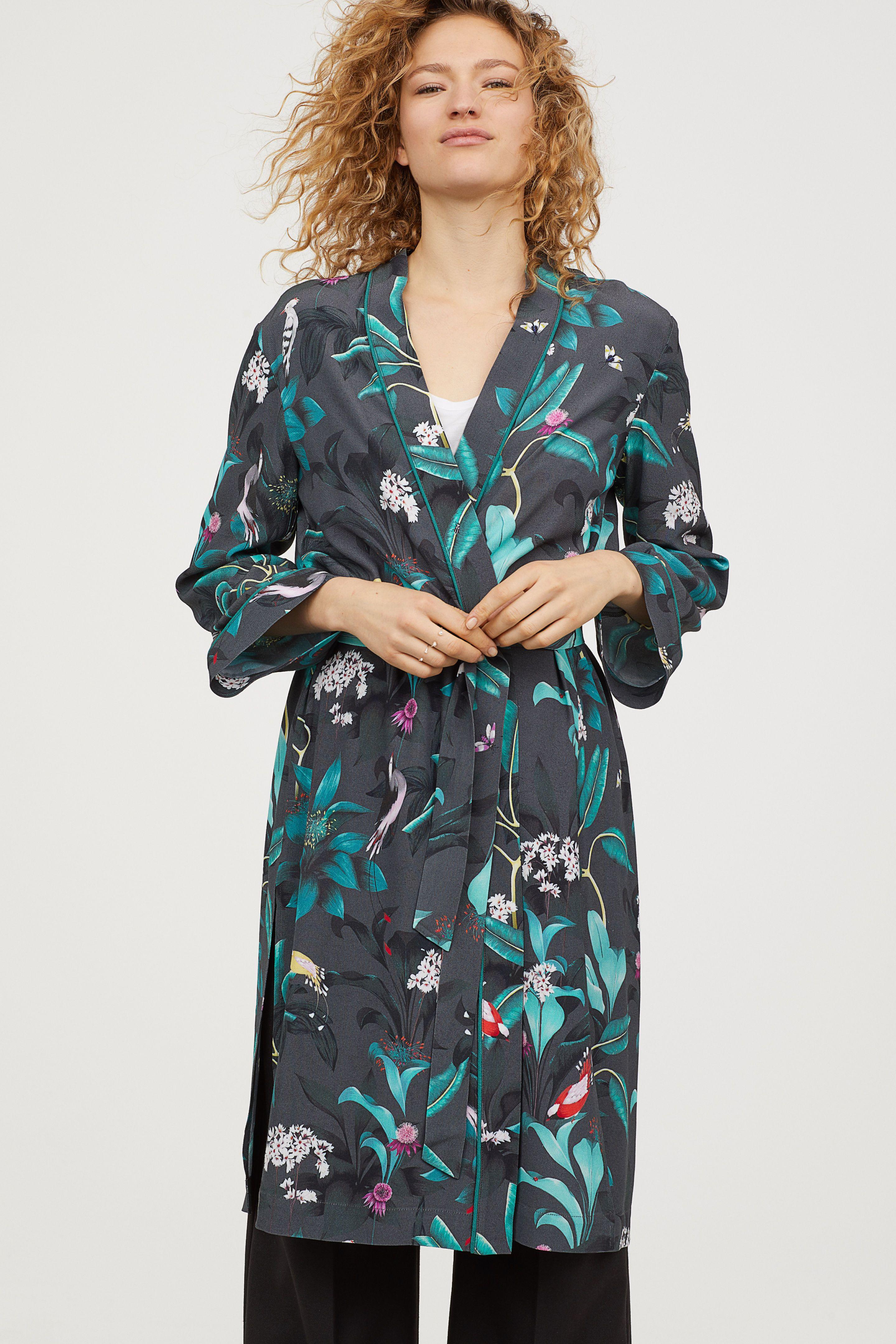Kimono fantasia - Grigio scuro/fiori - DONNA | H&M IT