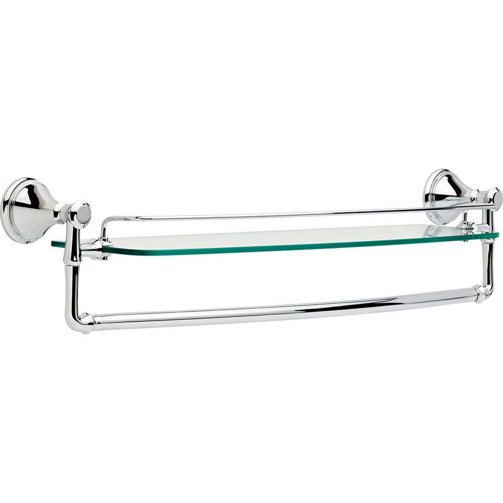 Delta Cassidy 24 In W Wall Mount Glass Shelf With Bar In Chrome 79711 The Home Depot 58 10 Glass Bathroom Shelves Glass Bathroom Glass Shelves Chrome and glass bathroom shelves