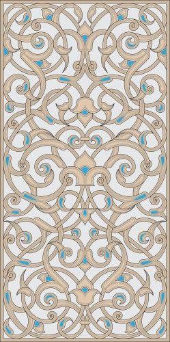 Rectangular floral design from the Kaaba minbar.