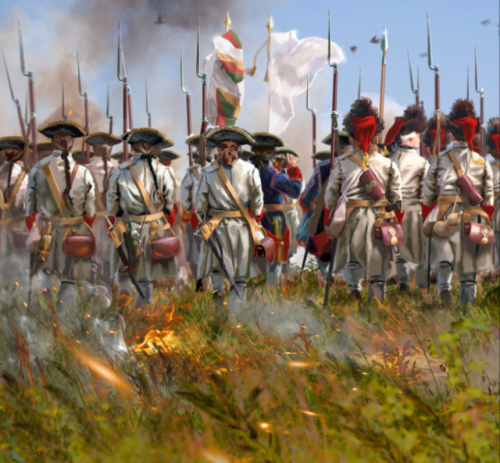 This shows french line infantry (fusiliers and grenadiers) from the Régiment Limousin marching toward its fame at the battle of Villinghausen (July 16th 1761), during the Seven Years War. Although Villinghausen is a French tactical defeat, the regiment Limousin distinguished itself during the encounter.