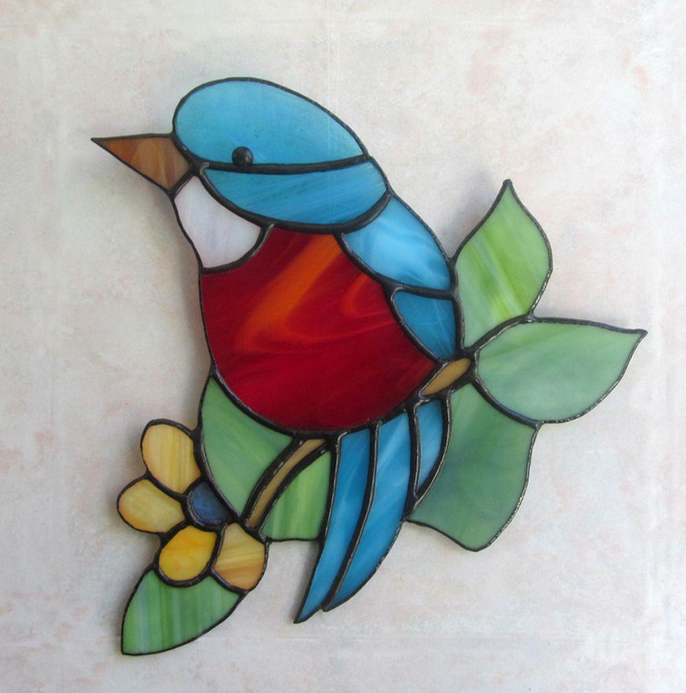 Petit oiseau vitrail tiffany artisanal oiseau cadeau original d corations m - Faux oiseaux decoration ...