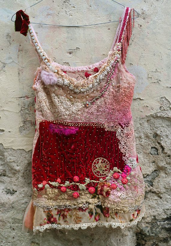 Strawberries and champagne---bohemian romantic hand embroidered and beaded top, wearable art, textile collage #wearableart