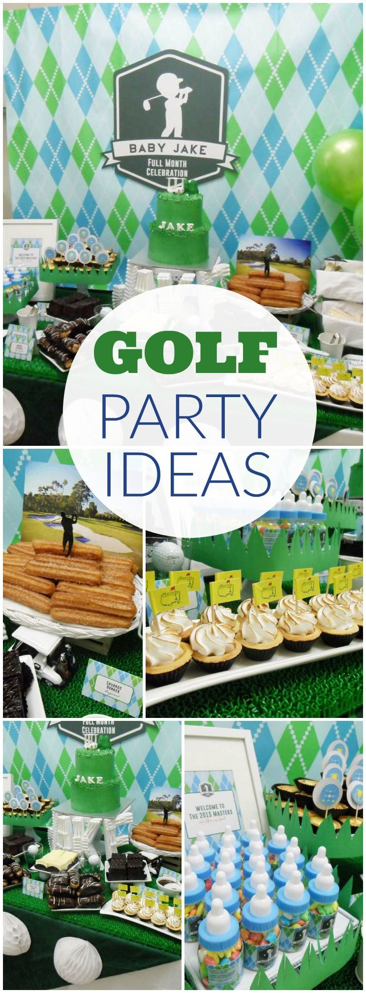 You must see this green and blue golf themed boy birthday