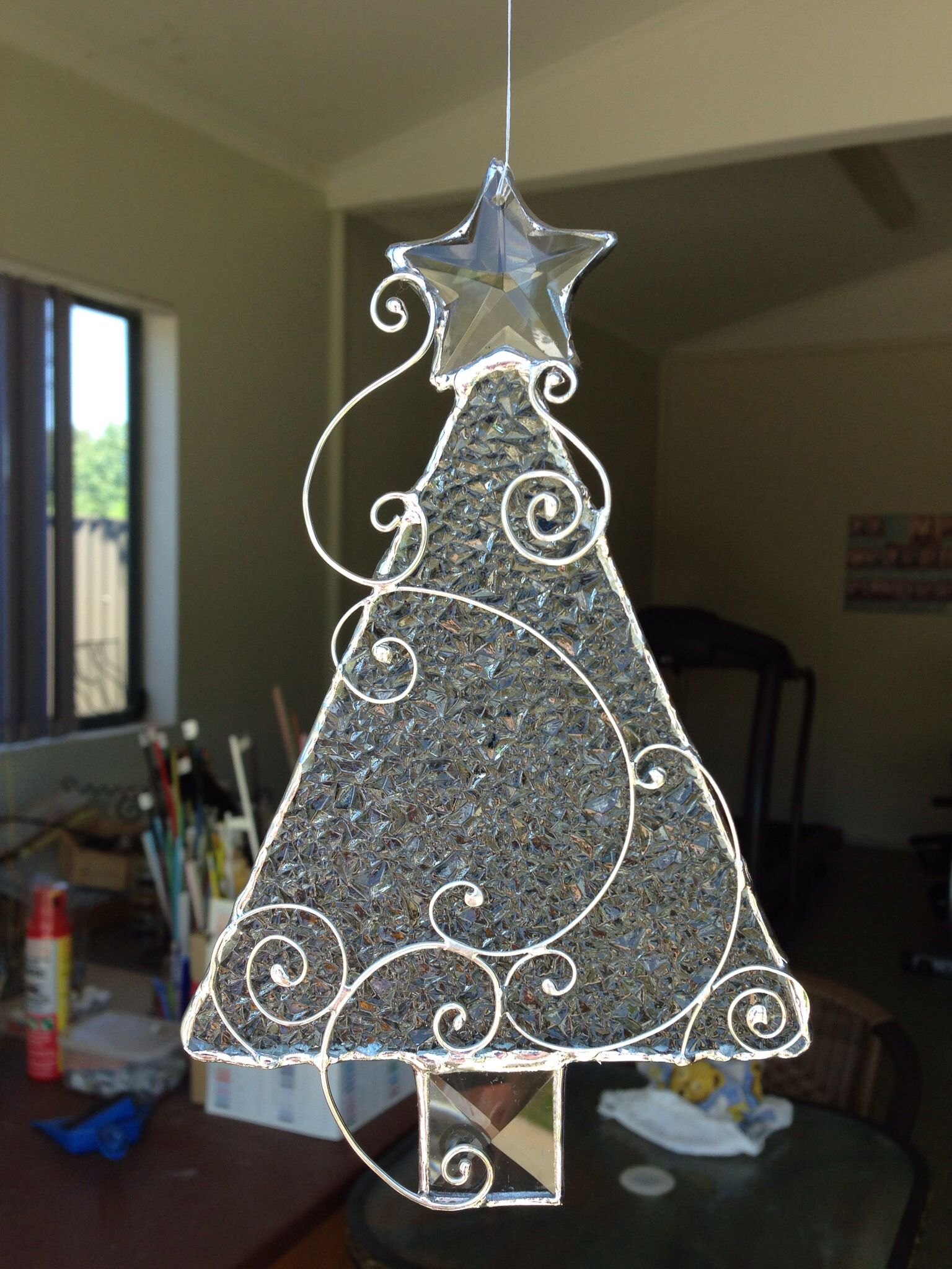 Christmas Tree Designed And Made By Carol Prince Griffith Nsw Australia Please Do Not Cop Stained Glass Christmas Stained Glass Ornaments Stained Glass Diy