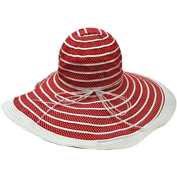 90888efd Red & White Striped Polka Dot Wide Brim Floppy Hat ($19) ❤ liked on Polyvore  featuring accessories, hats, floppy, brimmed hat, white crown, striped  floppy ...