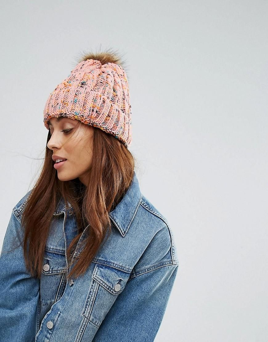 0bd6be3d22a ASOS -  7X 7X Knitted Pom Pom Beanie Hat - Pink - AdoreWe.com ...