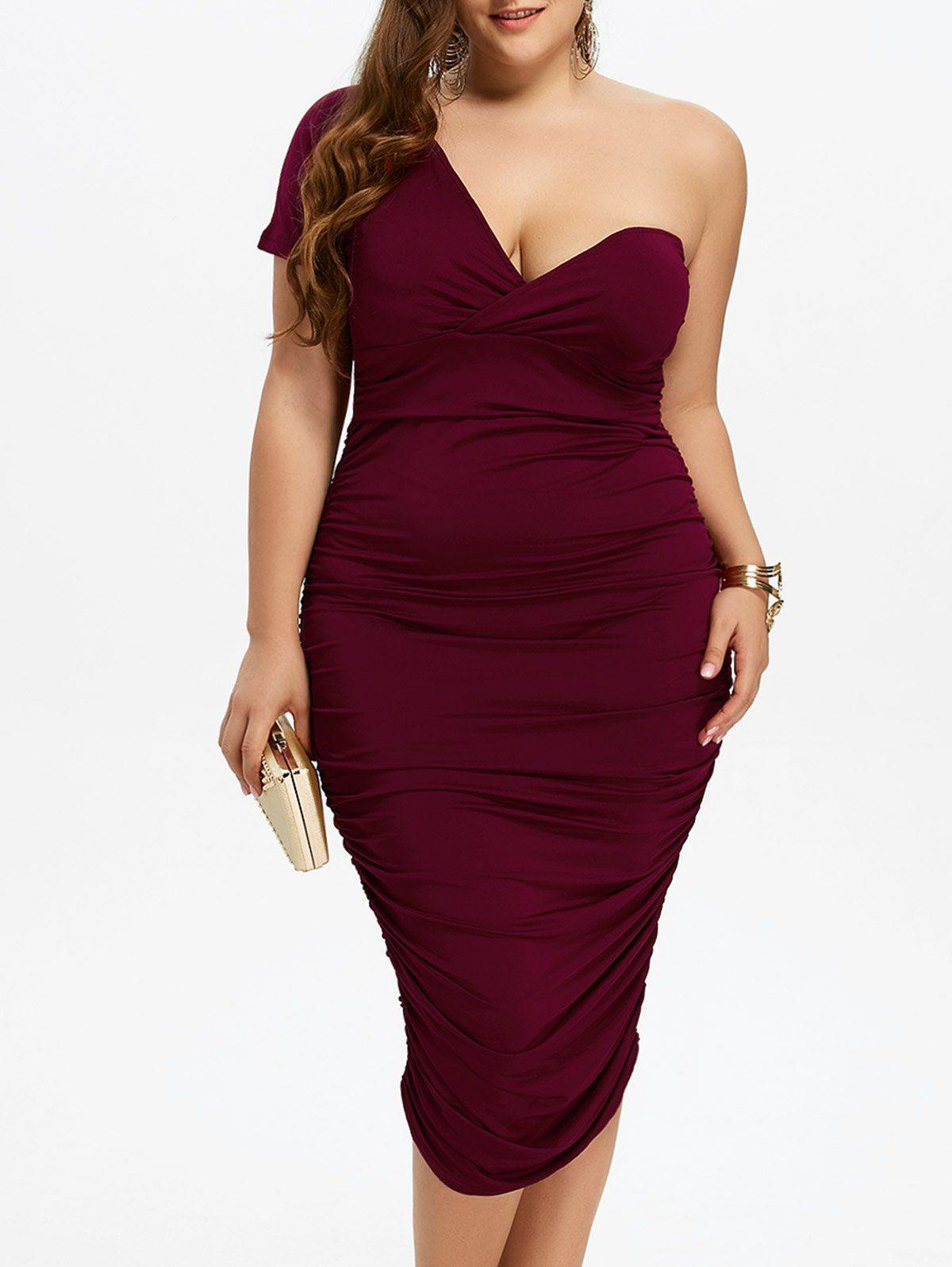 Plus size ruched one shoulder bodycon dress in wine red sammydress