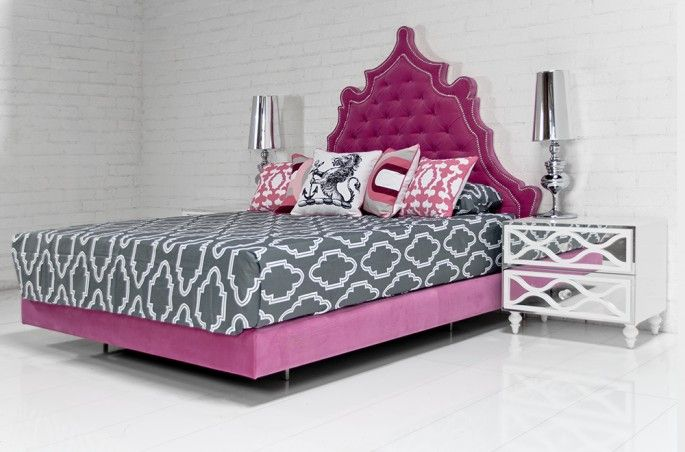 Casablanca Bed In Velvet Pink Room Service Store Unique House
