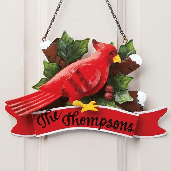 Personalized Cardinal Door Hanger - Zoom - Zoom