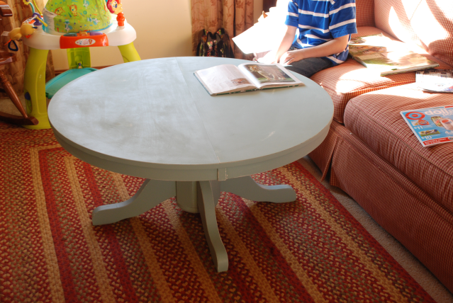 pedestal style kitchen table, cut up and turned into a coffee