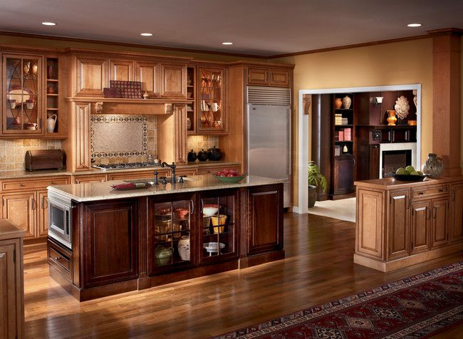 Larger View Room Details Warm Cherry Makes This Island Pop In A Maple Praline With Kraftmaid Kitchen Cabinets Kraftmaid Kitchens Kitchen Cabinet Inspiration